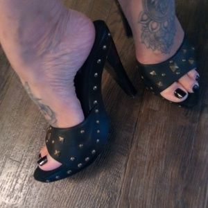 Black Studded Boho Glam Rock Heels